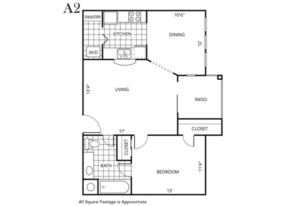 Floor Plan  One Bedroom One Bathroom Floor Plan A2