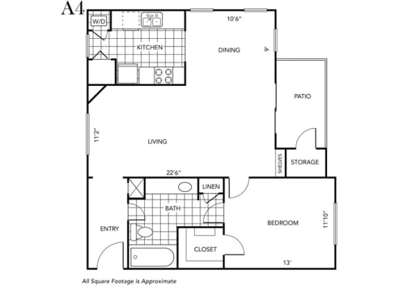 Floor Plan  One Bedroom One Bathroom floor plan A4