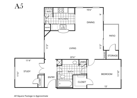 Floor Plan  One Bedroom One Bathroom floor plan A5