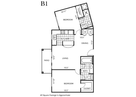 Floor Plan  Two Bedroom Two Bathroom floor plan B1