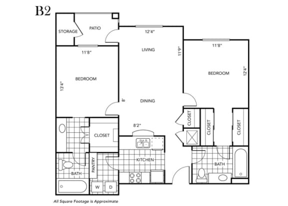 Floor Plan  Two Bedroom Two Bathroom floor plan B2