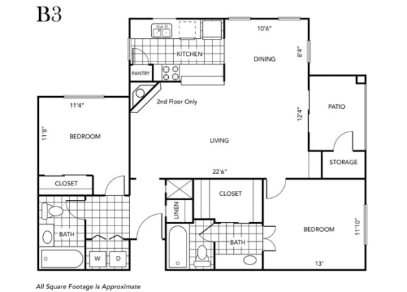 Floor Plan  Two Bedroom Two Bathroom floor plan B3