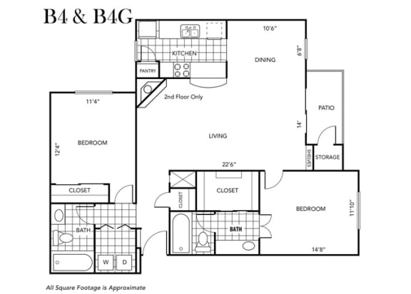 Floor Plan  Two Bedroom Two Bathroom floor plan B4