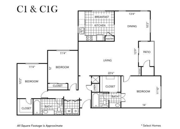 Floor Plan  Three Bedroom Two Bathroom floor plan C1