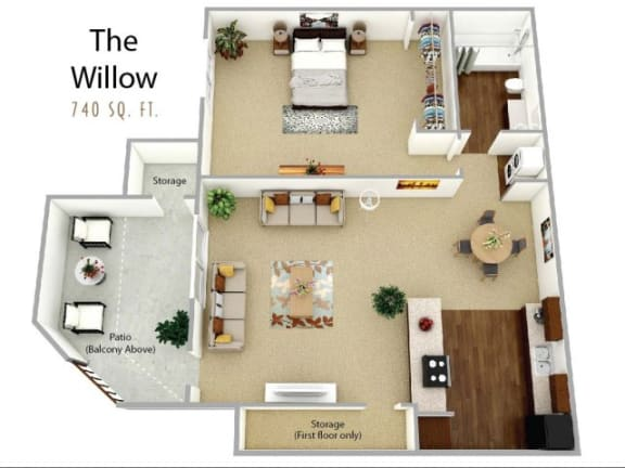 1 Bed 1 Bath Willow Floor plan, at Waterleaf Apartment Homes, Vista, 92083