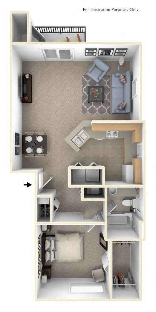 One Bedroom End Floor Plan at Autumn Lakes Apartments and Townhomes, Mishawaka, IN