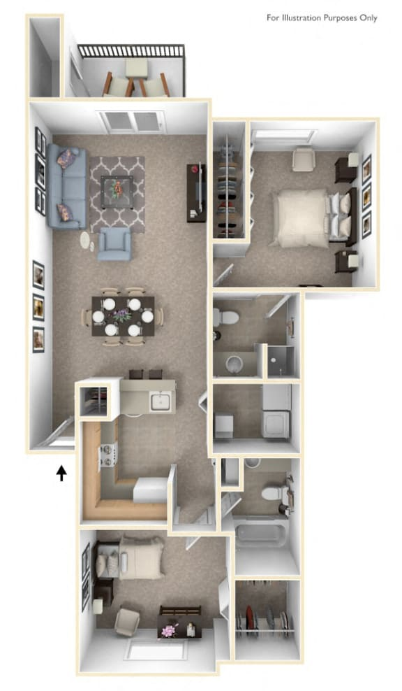 Traditional two bedroom Floor Plan at Autumn Lakes Apartments and Townhomes, Mishawaka, 46544