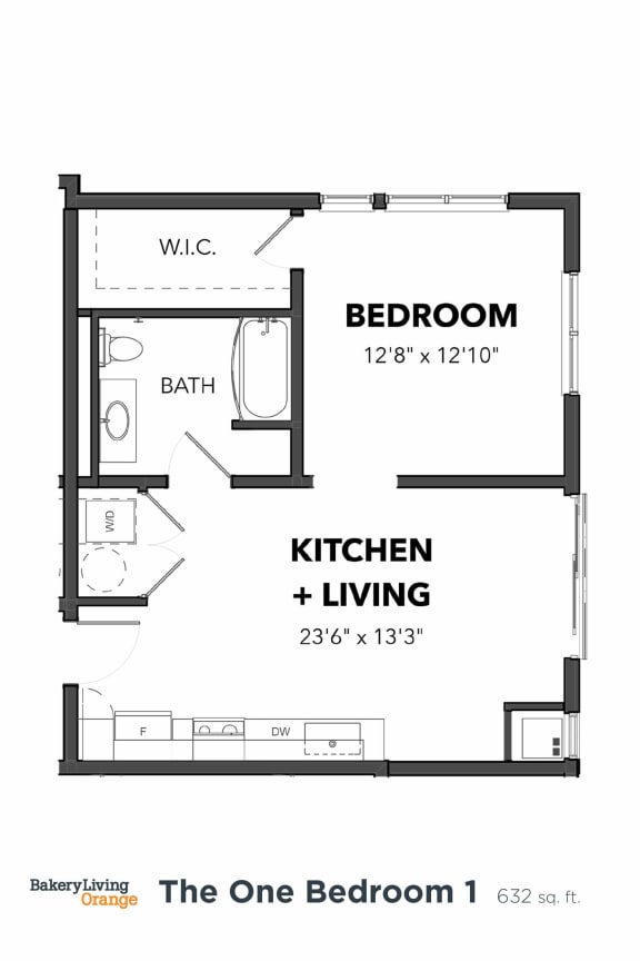 Floor Plan  Bakery Living A1, apartments in Pittsburgh, Pennsylvania
