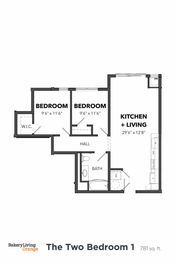 Floor Plan  Bakery Living B1, apartments in Shadyside Pittsburgh, PA