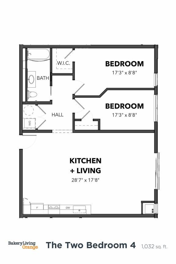 Floor Plan  Bakery Living B4, apartments in Pittsburgh, Pennsylvania