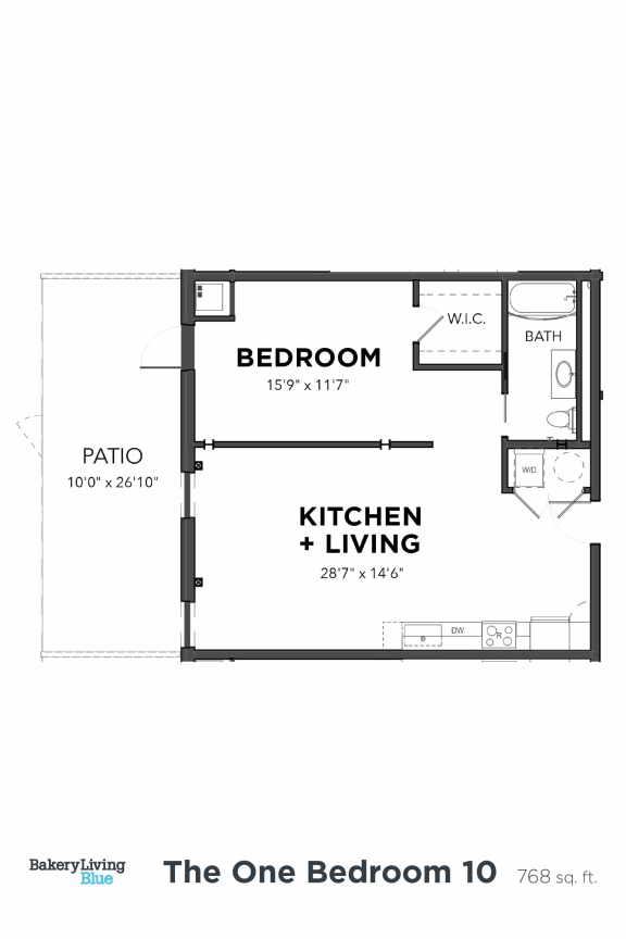 Bakery Living One Bedroom 10, apartments in Pittsburgh, Pennsylvania 15206