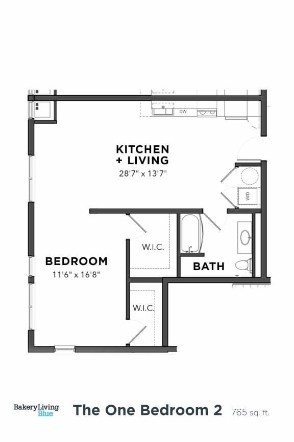 Floor Plan  Bakery Living One Bedroom 2, apartments in Pittsburgh, Pennsylvania