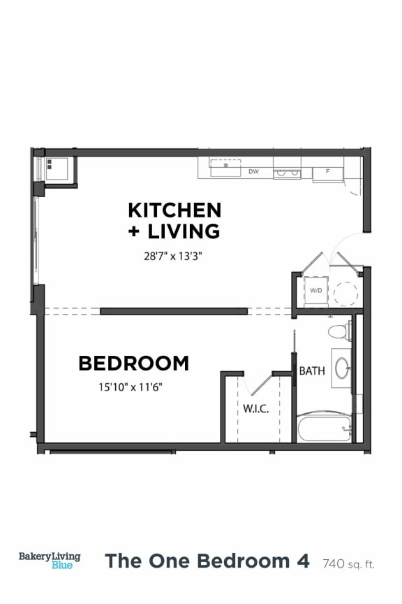 Bakery Living One Bedroom 4, apartments in Pittsburgh, Pennsylvania