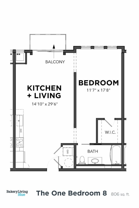 Floor Plan  Bakery Living One Bedroom 8 Furnished, apartments in Pittsburgh, Pennsylvania