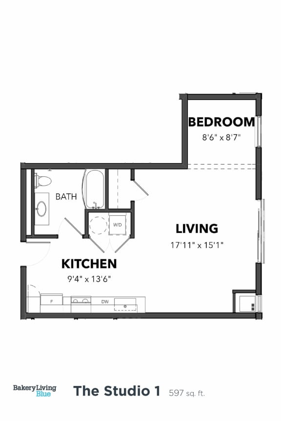 Floor Plan  Bakery Living Studio 1, apartments in Pittsburgh, Pennsylvania