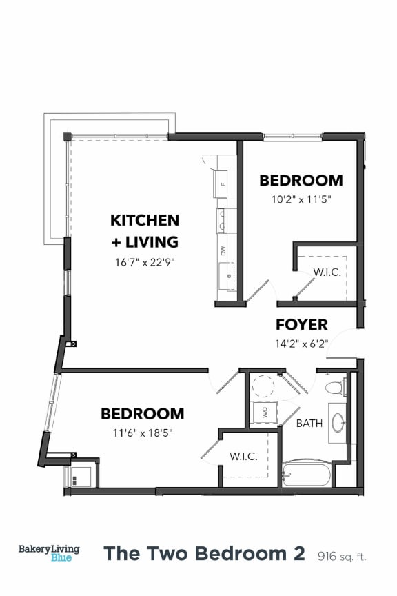 Floor Plan  Bakery Living Two Bedroom 2, apartments in Pittsburgh, Pennsylvania 15206
