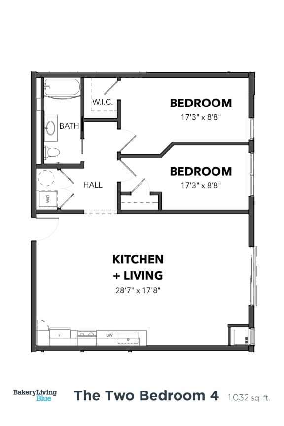 Floor Plan  Bakery Living Two Bedroom 4, apartments in Pittsburgh, Pennsylvania