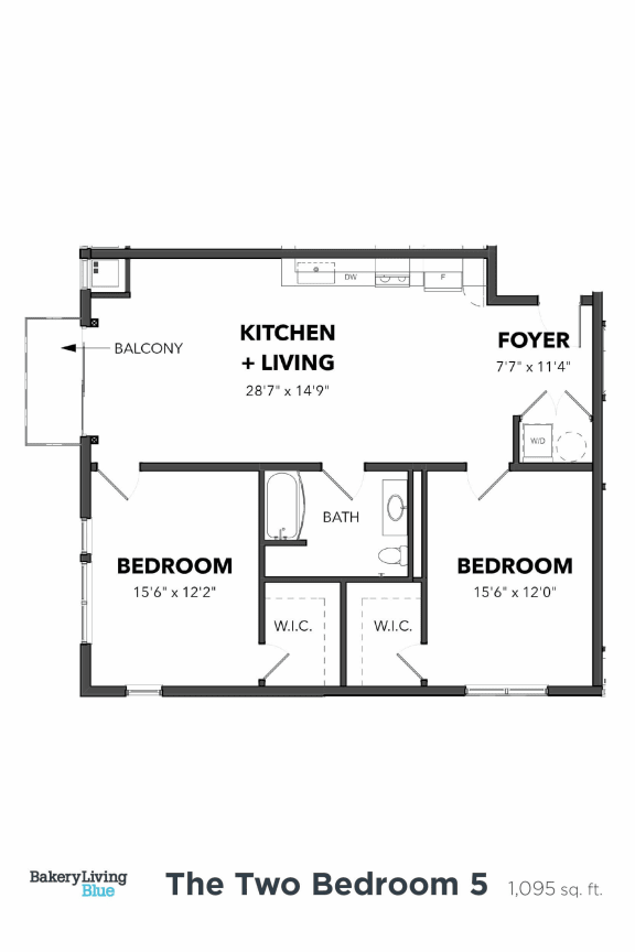 Floor Plan  Bakery Living Two Bedroom 5, apartments in Pittsburgh, Pennsylvania 15206
