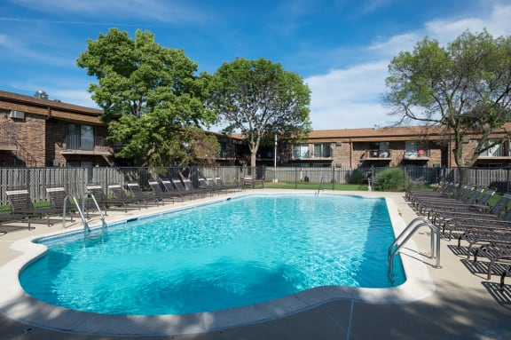 Two Swimming Pool with Lounge Chairs at Eagle Creek Apartments, 1130 S. Williams Street, 60559