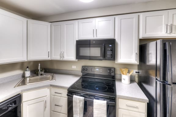 Modern Kithen with Wood Cabinets - Eagle Creek Apartments