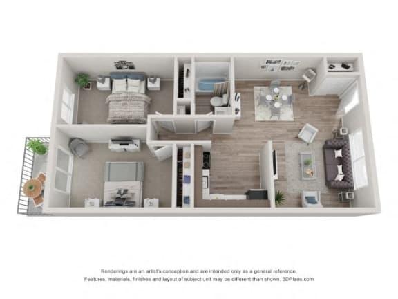 Floor Plan  Pine Floor Plan - Eagle Creek Apartments
