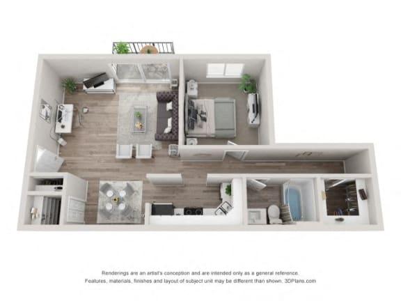 Floor Plan  Spruce Floor Plan - Eagle Creek Apartments