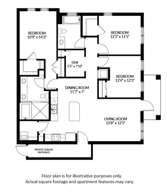 Floor Plan  C1 - BW Floor Plan at Windsor at Delray Beach, Florida, 33483