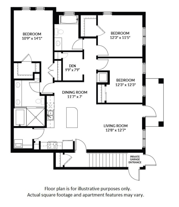 Floor Plan  C2 - BW Floor Plan at Windsor at Delray Beach, Delray Beach, FL