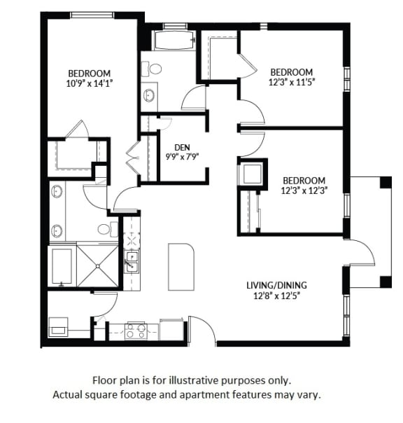 Floor Plan  C3 - BW Floor Plan at Windsor at Delray Beach, Delray Beach, FL 33483