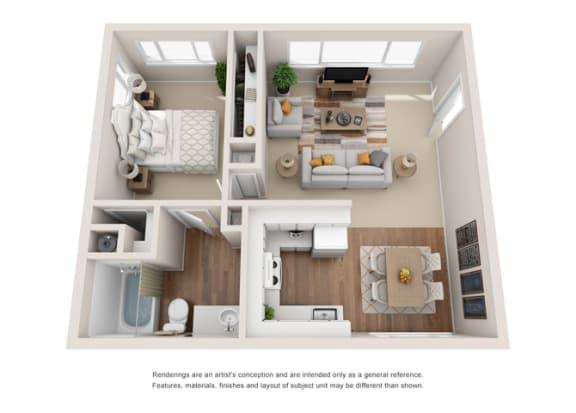 1B 2B Floor plan at Crown Royal, Portland, OR 97212