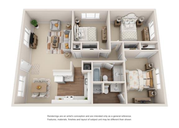 3B 2B Floor plan at Crown Royal, Portland,Oregon