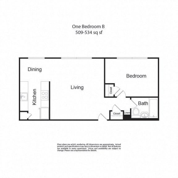 Floor Plan  LockVista FP|OneBedroomB|1b1b|509-534sf