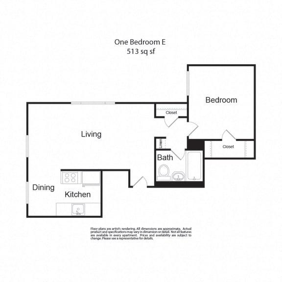 Floor Plan  LockVista FP|OneBedroomE|1b1b|513sf