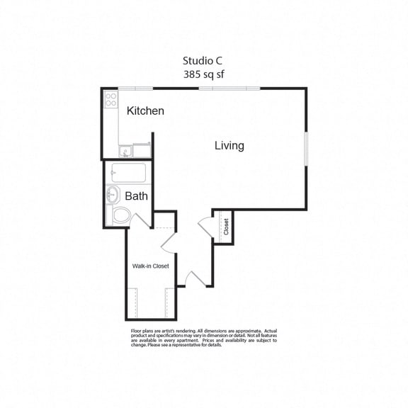 Floor Plan  LockVista FP|StudioC|studio|385 sf