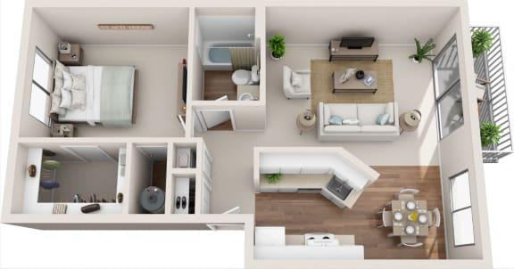 Summerfield 1B/1B 3D Floor Plan