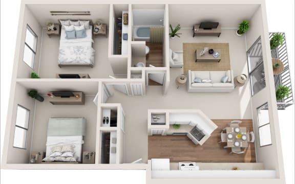 Summerfield 2B/1B 3D Floor Plan