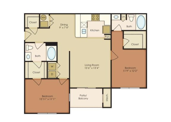 Floor Plan  2 Bed 2 Bath Floor Plan at The Residence at North Penn, Oklahoma
