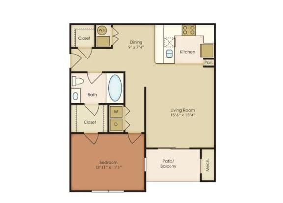 Floor Plan  1 Bed 1 Bath Floor Plan at The Residence at North Penn, Oklahoma City,Oklahoma
