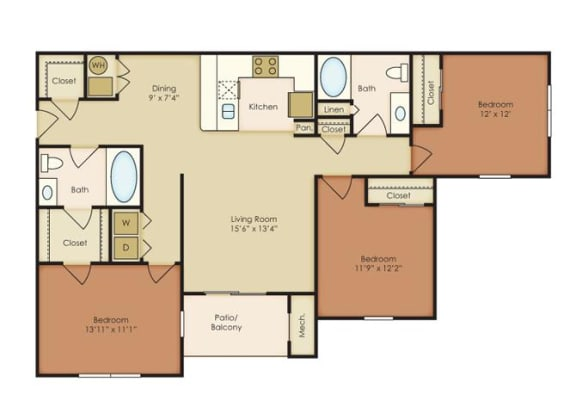 3 Bed 2 Bath Floor Plan at The Residence at North Penn, Oklahoma, 73134