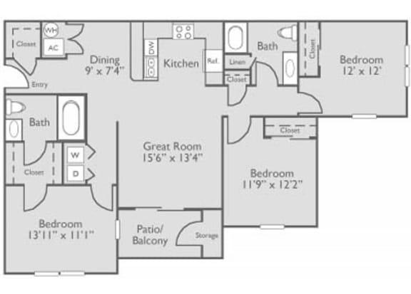 3 Bed 2 Bath Floor Plan at The Residence at North Penn, Oklahoma City, OK 73134