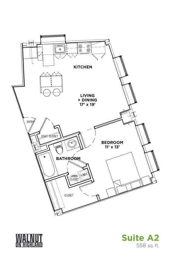 Floor Plan  1 BR 1 Bath Suite A (Highland Building)	Bed/Bath, Walnut on Highland in East End Pittsburgh, PA