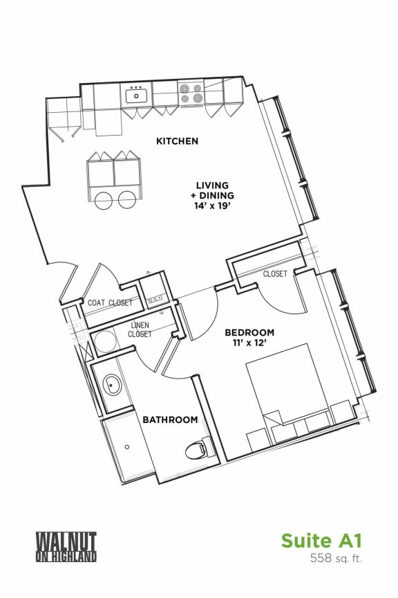 Floor Plan  Floor Plan1 BR 1 Bath Suite B - ADA (Highland Building), Walnut on Highland in East Liberty Neighborhood of Pittsburgh