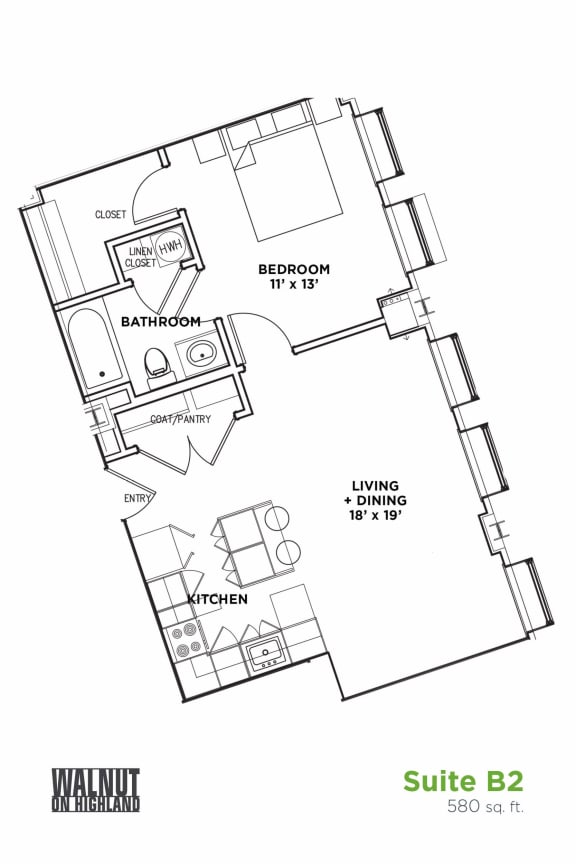 Floor Plan  1 BR 1 Bath Suite B (Highland Building), Walnut on Highland in East Liberty Neighborhood of Pittsburgh