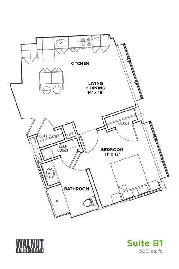 Floor Plan  Floor Plan1 BR 1 Bath Suite B - ADA (Highland Building), Walnut on Highland in East End Pittsburgh, PA
