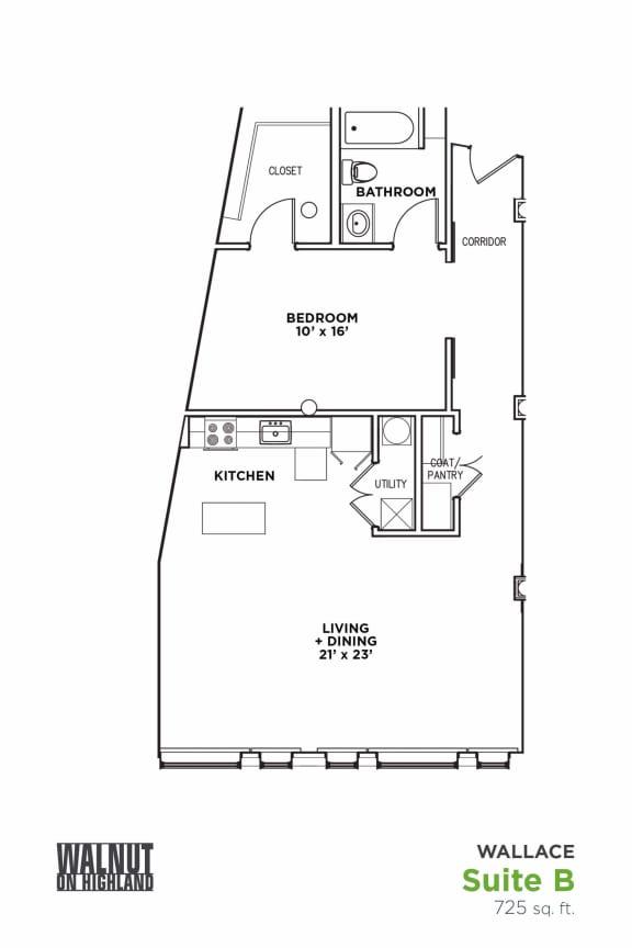 Floor Plan  Floor Plan1 BR 1 Bath Suite B-W (Highland Building)Bed/Bath, Walnut on Highland in East Liberty Neighborhood of Pittsburgh, opens a dialog