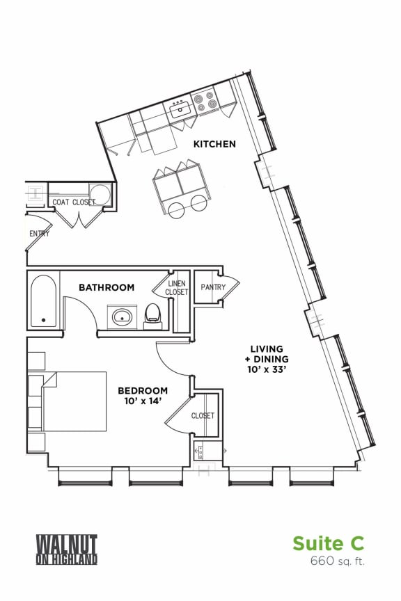 Floor Plan  Floor Plan1 BR 1 Bath Suite C (Highland Building), Walnut on Highland in East Liberty Neighborhood of Pittsburgh