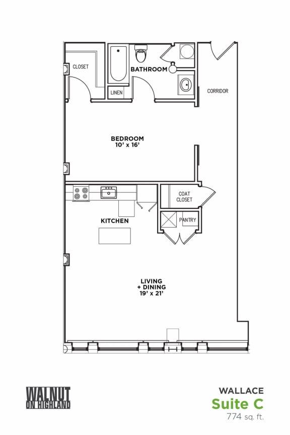 Floor Plan  Floor Plan1 BR 1 Bath Suite C-W (Highland Building), Walnut on Highland in East Liberty Neighborhood of Pittsburgh, opens a dialog