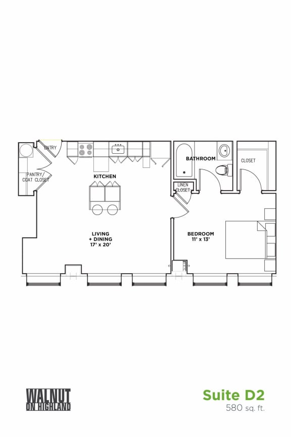 Floor Plan  Floor Plan1 BR 1 Bath Suite D (Highland Building)	Bed/Bath, Walnut on Highland in East End Pittsburgh, PA