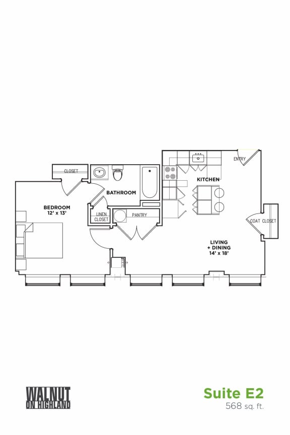 Floor Plan  1 BR 1 Bath Suite E (Highland Building)	, Walnut on Highland in East End Pittsburgh, PA
