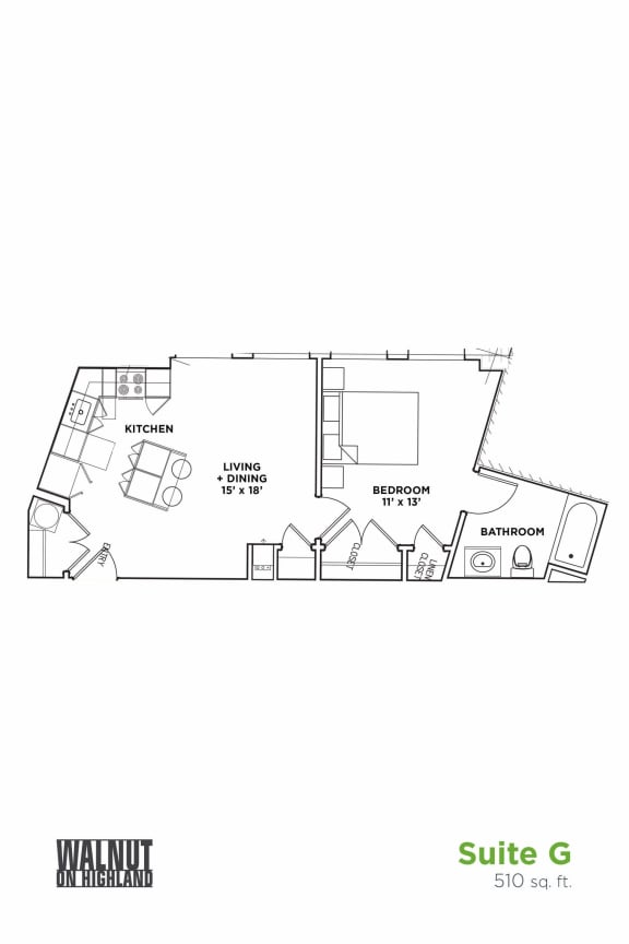 Floor Plan  1 BR 1 Bath Suite G (Highland Building), Walnut on Highland in East Liberty Neighborhood of Pittsburgh